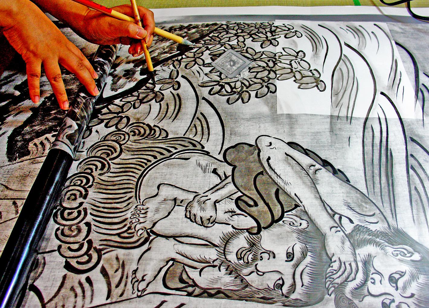 京都御所清涼殿荒海障子模写画制作