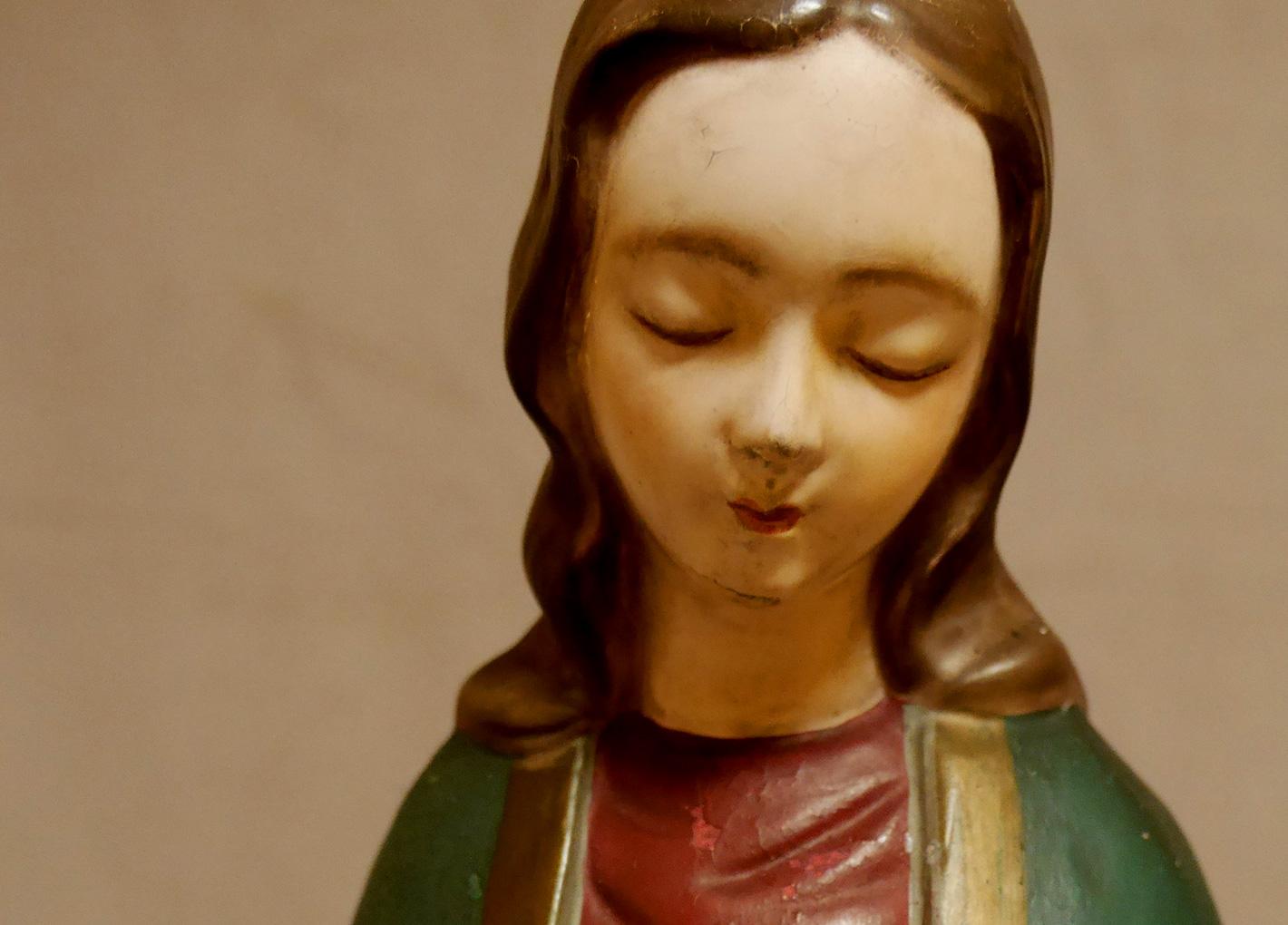 陶製著色聖母マリア立像及び木製台座修理